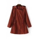 Women's Drawstring Waist Hooded Oblique Zip Fly Plain Tunic Coat
