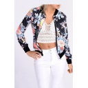 Fashion Floral Pattern Long Sleeve Stand-Up Collar Zip Up Baseball Jacket