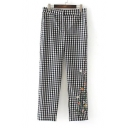 Leisure Embroidery Floral Pattern Plaid High Waist Pants