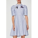 Women;s Lapel Embroidery Bird Pattern Short Sleeve Striped Button Down Midi Shirt Dress