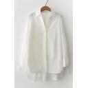 Basic Simple Plain Loose Long Sleeve Lapel Collar High Low Hem Tunic Shirt