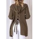 Fashion Lace-Up Split Back Hooded Long Sleeve Plain Cardigan with Double Pockets