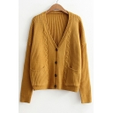 Retro Cable Knit Long Sleeve Buttons Down Plain Cardigan with Double Pockets