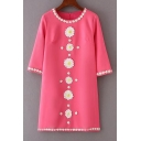 Fashion Floral Embellished Round Neck 3/4 Sleeve Loose Shift Mini T-Shirt Dress