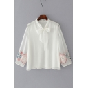 New Trendy Bow Tied Collar Long Sleeve Fashion Embroidered Pullover Blouse