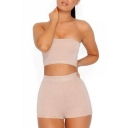 New Trendy Hot Popular Sexy Plain Cropped Bandeau Top with Skinny Shorts