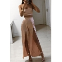 New Sexy Plain Cropped Bandeau Top with Split Wide Legs Pants