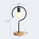 Industrial Table Light Wrought Iron Circle Shade with Wooden Base