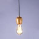 Industrial Wooden Bare Bulb Pendant Fixture