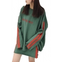 Loose Leisure Color Block Round Neck Long Sleeve Sweatshirt with Mini A-Line Skirt