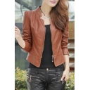 Fashion Simple Plain Long Sleeve Zip Up PU Slim Biker Jacket