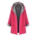 Oversize Casual Hooded Long Sleeve Fashion Color Block Coat with Double Pockets