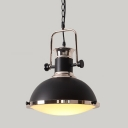 Industrial Single Pendant Light with Dome Shade, Matte Black