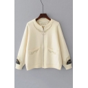 Round Neck Long Sleeve Fashion Ring Zip Up Chic Embroidered Cardigan