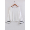 Fashion Color Block Ruffle Long Sleeve Round Neck Pullover Loose Sweater