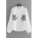 New Arrival Fashion Lantern Long Sleeve Chic Floral Embroidered Buttons Down Shirt