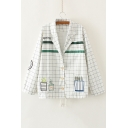 Notched Lapel Plaid Embroidery Plant Single Breasted Coat with One Pocket
