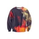 Long Sleeve Round Neck Fashion 3D Mirror Geometric Printed Casual Sweatshirt