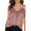 Chic Lace Inserted Trim Sexy Spaghetti Straps Loose Casual Cami Top