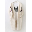 Chic Floral Embroidered Long Sleeve Open Front Casual Cardigan