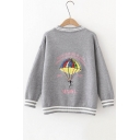 Funny Embroidery Parachute Graphic Pattern V-Neck Single Breasted Cardigan