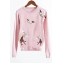 Embroidery Bird Pattern Long Sleeve Round Neck Pullover Sweater