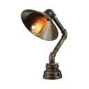 Dark Bronze Single Light Cone Shade Pipe LED Table Lamp