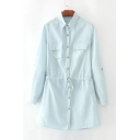 Simple Plain Lapel Collar Long Sleeve Drawstring Waist Buttons Down Denim Shirt Dress