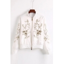 Chic Sequined Floral Pattern Long Sleeve Stand-Up Collar Zip Up Baseball Jacket