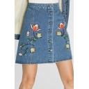 New Arrival Chic Floral Embroidered Buttons Down Mini A-Line Denim Skirt