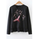 Embroidery Floral Pattern Round Neck Long Sleeve Single Breasted Back Blouse