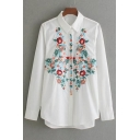 Fashion Contrast Embroidery Floral Pattern Tunic Button Down Shirt