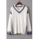 Loose V-Neck Long Sleeve Color Block Pullover Sweater