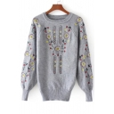 Raglan Long Sleeve Embroidery Floral Pattern Round Neck Pullover Sweater
