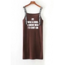 Funny Letter Printed Straps Sleeveless Midi Shift Cami Dress