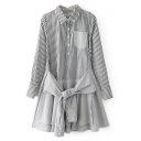 New Stylish Long Sleeve Patchwork Lapel Button Down Striped Midi Shirt Dress