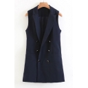 Notched Lapel Collar Sleeveless Double Breasted Plain Vest Coat