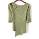 Rings Detail V-Neck Half Sleeve Plain Asymmetric Pullover Sweater