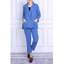 Casual Double Breasted Notched Lapel Long Sleeve Blazer with Elastic Waist Pants Plain Co-Ords