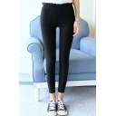 Basic Simple Plain High Rise Elastic Waist Skinny Pants