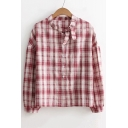 New Trendy Bow Tie Collar Long Sleeve Classic Plaids Pattern Shirt