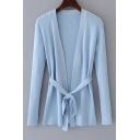 New Trendy Tied Waist Open Front Long Sleeve Basic Plain Cardigan