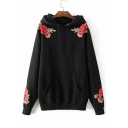 New Trendy Chic Floral Embroidered Long Sleeve Casual Loose Hoodie