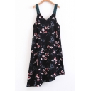 Retro Floral Pattern Sleeveless Straps Midi Asymmetrical Slip Dress