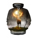 Digital Galaxy Antelope Pattern Casual Loose Long Sleeve Unisex Hoodie