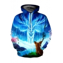 New Stylish Digital Ice Deer Pattern Long Sleeve Unisex Hoodie