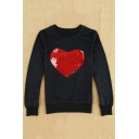 New Arrival Chic Sequined Sweetheart Pattern Round Neck Long Sleeve Sweatshirt