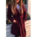 Hot Fashion Simple Plain Long Sleeve Hooded Long Coat with Double Pockets