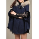 Winter's Fashion Fur Hooded Half Sleeve Double Buttons Cape Coat