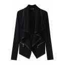 Fashion Zip Embellished Long Sleeve Simple Plain Waterfall Collar Coat